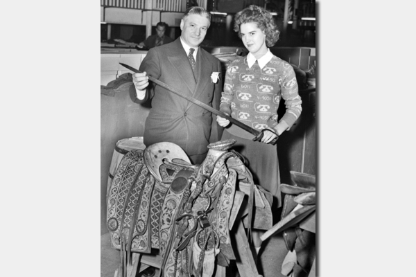 1930s Store Morris Kallison and Dorothy Sherwood with Pancho Villa's Saddle